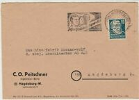 Germany 1951 Magdeburg Cancel Three People Berlin Slogan Stamps Cover ref R19313