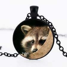 1 pcs Raccoon Photo Glass Dome Necklace black Chain Pendant Necklace