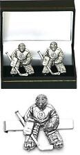 Ice Hockey Goalie Cufflinks & Tie Clip Bar Tack Slide Set Mens Player Gift