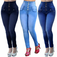 Fashion Women's High Waist Jeans Casual Stretch Elastic Skinny Pants
