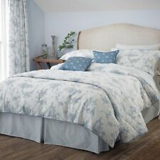 V&A GARDEN OF LOVE BLUE SUPER KING SIZE DUVET COVER SET 100% COTTON 260x220cm