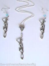 Halloween Skeleton necklace earring set hanging man tarot cards gypsy Samhain !!