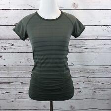 Athleta Gradient Stripe Fastest Track Tee XS Army Green Top Activewear Women's