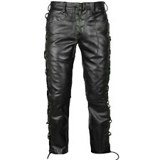 Real Men's Cowhide Leather Pants Side Laced Up Bikers Jeans Pants 100% Leather