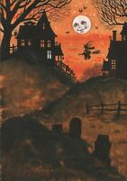 1.5x2 DOLLHOUSE MINIATURE PRINT OF PAINTING RYTA 1:12 SCALE HALLOWEEN WATERCOLOR