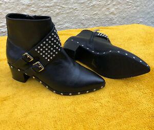 Kurt Geiger Black Leather Boots with rhinestones Size 42 UK 8