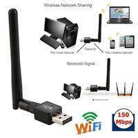 150M USB WIFI Wireless LAN Adapter Long Range 2dBi Antenna for Desktop Computer-
