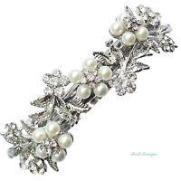 Bridal Wedding Vintage Flower Silver Crystal Pearl Barrette Hair Clip Grip CL14