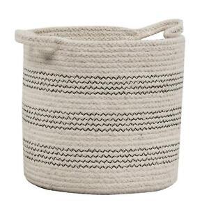 Braided Cotton Basket / Storage Bing Set of 3 (8, 10, 12 - inch) with Handles