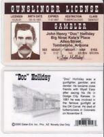 John Henry DOC HOLLIDAY Tombstone AZ Drivers License fake id card Holiday