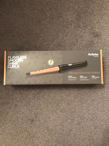 BNIB Babyliss Bronze Shimmer Hair Styling Wand With Heat Protection Glove