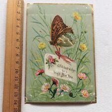 Antique Victorian Card 1800's R Tuck & Sons New Year Verse Eden Hooper Trademark