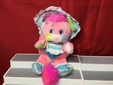 "Vintage 80's Popples Baby Cribsy Popple Pink Plush Bonnet Bib 11"" Toy Rattle"