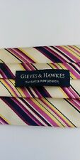 Gieves & Hawkes Cream Base With Multi Coloured Stripes Silk Tie