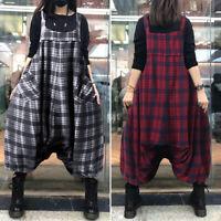 ZANZEA Femme Combinaison Loisir Vérifier Sans Manche Pantalon élastique Plus