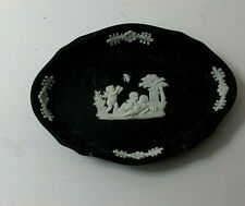 New ListingWedgwood England Cream On Black Jasperware Pin Jewelry Trinket Dish