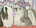 Havanese Jesters 5 x 7 Dog Art Giclee Print Signed by Artist KSams