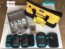 Bosch Makita 71 Piece Holesaw, Drill & Screwdriver Tile Pro Set Fixing Kit Bag