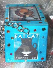Fat Cat Wood Cigar Box Purse That'S Just Crazy! Handbag Siamese Black Ooak Usa