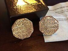 Vintage Gold Rupee Coin Cufflinks Assam States India - Lakshmi - Alva Museum