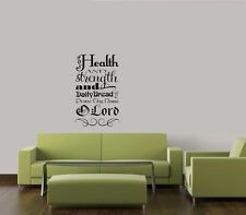 FOR HEALTH & STRENGTH & DAILY BREAD WORD HOME FAMILY QUOTE VINYL DECAL WALL ART