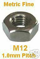 M12 Stainless Full Nuts x5 - Metric Fine Pitch 1.0mm