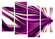 """LARGE PURPLE ABSTRACT CANVAS WALL ART PICTURE SPLIT 4 PANELS 40"""" X 28"""""""