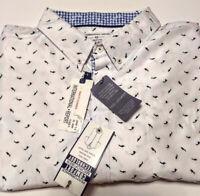 International Report Mens Shirt Short Sleeve Size 4X NWT WHITE BLUE FISH SHARKS