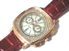 Bling Bling Red Leather Band Ladies Watch Item 4431