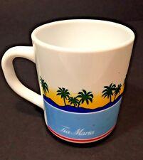 Vtg Arcopal France Milk Glass Tia Maria Coffee Mug Cup Palm Tree Beach Ocean EUC