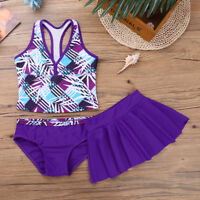Kids Girls Tankini Printed Swimsuit Swimwear Bathing Suit Swimming Skirt 3 Piece
