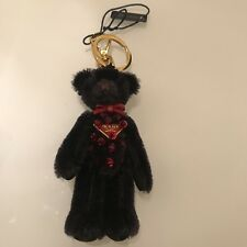 Prada Trick Orsetto Bear Key Ring / Charm - Nero with Red Crystals