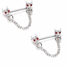Nipple Ring Bars Dragon Heads Body Jewelry Pair 14 gauge sold as pair