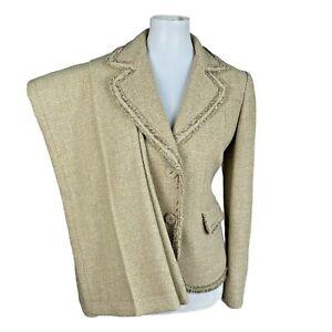 ANN TAYLOR Mismatched Beige Wool Rayon Nylon Blend Pant (Size 6P) Suit (Size 4)