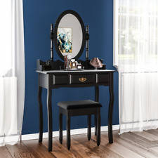 Nishano Dressing Table 1 Drawer Stool Black Makeup Mirror Bedroom Vanity Desk