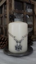 Elegant stag's head candle decoration, silver-toned metal with diamanté detail