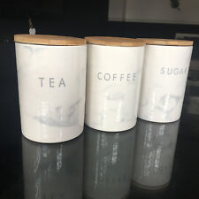 MARBLE EFFECT GLOSSY CERAMIC TEA COFFEE SUGAR STORAGE JARS SET OF 3 CANISTERS
