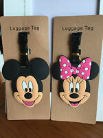2pcs disney Mickey minnie silica gel luggage tags Baggage travel tags