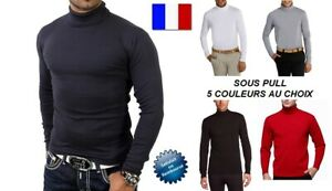 SOUS PULL HOMME COL ROULE CHAUD SOUSPULL PULL MANCHE LONGUE