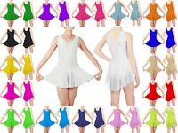 KLS Kids Girls Sleeveless Shiny Nylon Lycra Ballet Dance Gymnastic Leotard Skirt