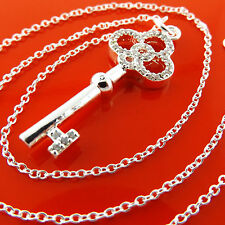 NECKLACE CHAIN 925 STERLING SILVER S/F DIAMOND SIMULATED 21ST KEY ANTIQUE DESIGN