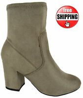WOMENS NEW LADIES ANKLE GREY CHUNKY BLOCK HEEL MID HIGH CHELSEA BOOTS SIZE 3-8