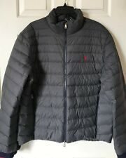 $228 NWT Mens Polo Ralph Lauren Packable Quilted Down Puffer Jacket Coat Gray