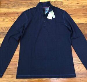 NWT Robert Graham Leonard Piqué Cotton Quarter-Button Polo Pullover M $198