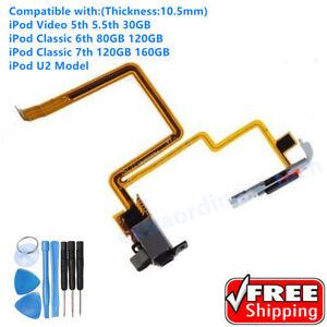 Black Audio Headphone Jack & Switch for iPod Video 30GB Classic 7th 120GB 160GB