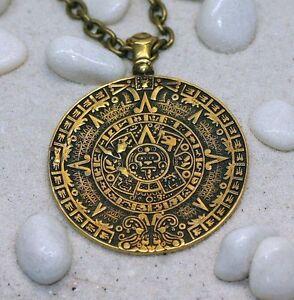 Aztec Calendar Sun Stone Solar Necklace Mexica Calendar Mesoamerican Aztec...