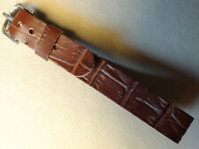 One Piece Brown Crocodile Grain Faux Leather 12mm Watch Band Silver Tone Buckle