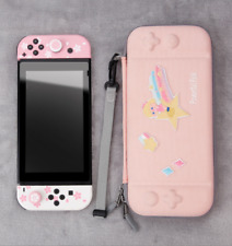 Embroidery Carrying Case Storage Bag Pouch For Nintendo Switch lite Console Pink