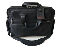 "Tumi Black Leather Briefcase Laptop Messenger Bag 17""x12"" In EUC, W/ Luggage Tag"