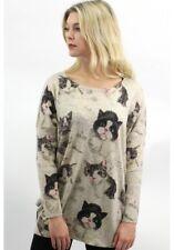 ♥ViNTAGE CAT Oversized Pullover Katzen Longshirt London S/M 36 38 40